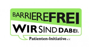 Logo Barreirefrei. Wir sind dabei.