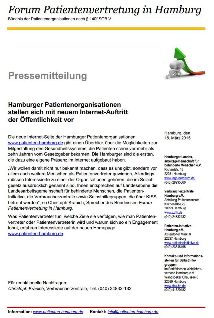 Foto der PM vom 18.3.2015 des Forums Patientenvertretung zur neuen Website patienten-hamburg.de