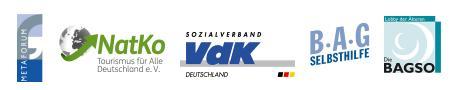 Die Logos der Bündnispartner unter der Federfügung des gemeinnützigen Vereins MetaForum – Innovation für mehr Gesundheit e.V (1. Logo): NatKo (Tourismus für alle), Sozialverband Deutschland VdK, BAG Selbsthilfe, Bundesarbeitsgemeinschaft der Senioren-Organisationen BAGSO)