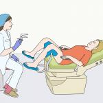 Ärztin und Patientin auf einem Gyn-Stuhl. Illustrationen: © Lebenshilfe für Menschen mit geistiger Behinderung Bremen e.V., Illustrator Stefan Albers, Atelier Fleetinsel, 2013