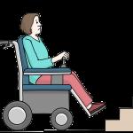 Barriere: Frau im Rollstuhl vor einer Treppe. © Lebenshilfe für Menschen mit geistiger Behinderung Bremen e.V., Illustrator Stefan Albers, Atelier Fleetinsel, 2013.