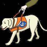 Blindenführhund. © Lebenshilfe für Menschen mit geistiger Behinderung Bremen e.V., Illustrator Stefan Albers, Atelier Fleetinsel, 2013.